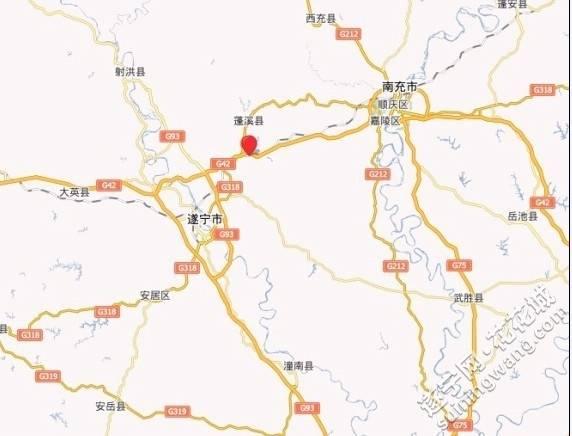 遂宁绕城高速在百度地图上已标示的清晰可见。
