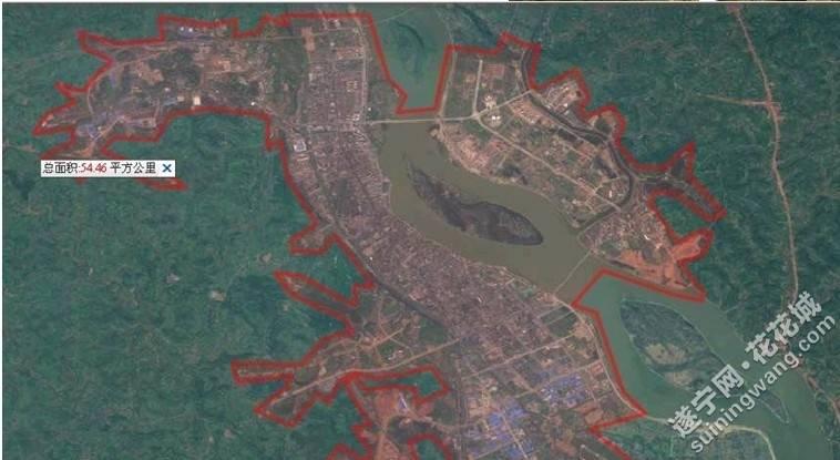 天地图卫星影像:实测遂宁各区县及重点乡镇城建面积
