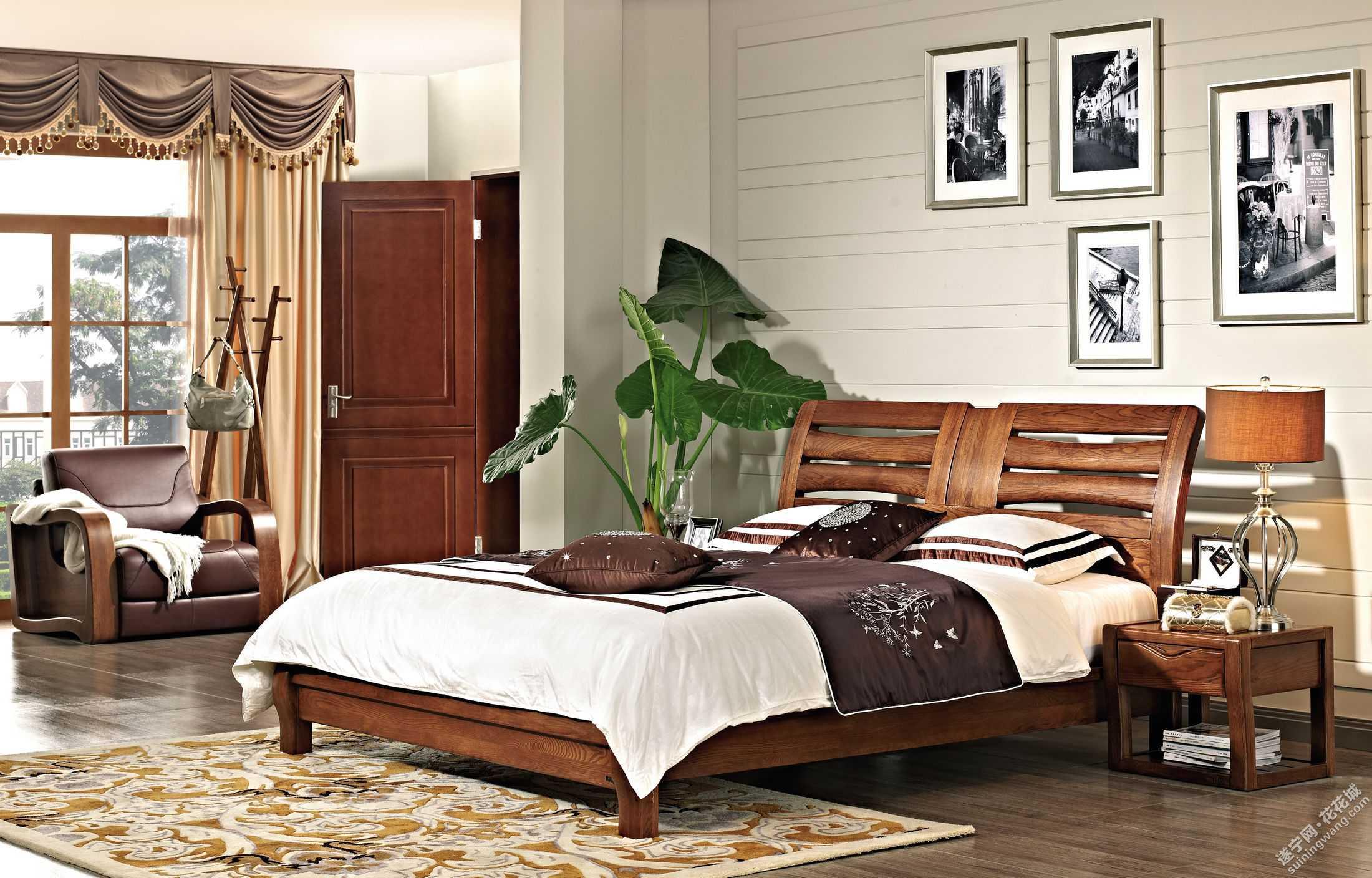 欧式木头床图片