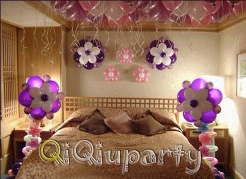婚房布置~新房装饰气球拉花彩带~婚礼现场创意气球