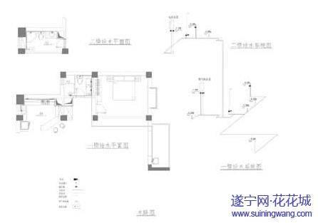 显示全部楼层 5,给水平面图   厨房,卫生间